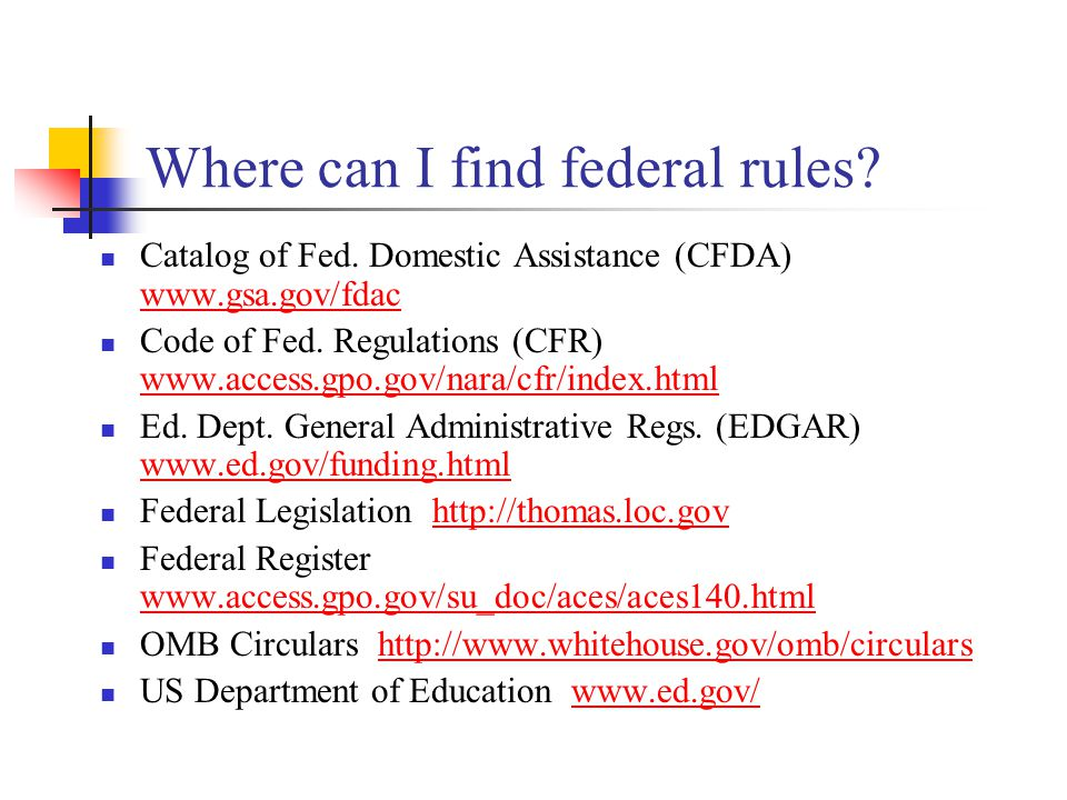 Where can I find federal rules. Catalog of Fed.
