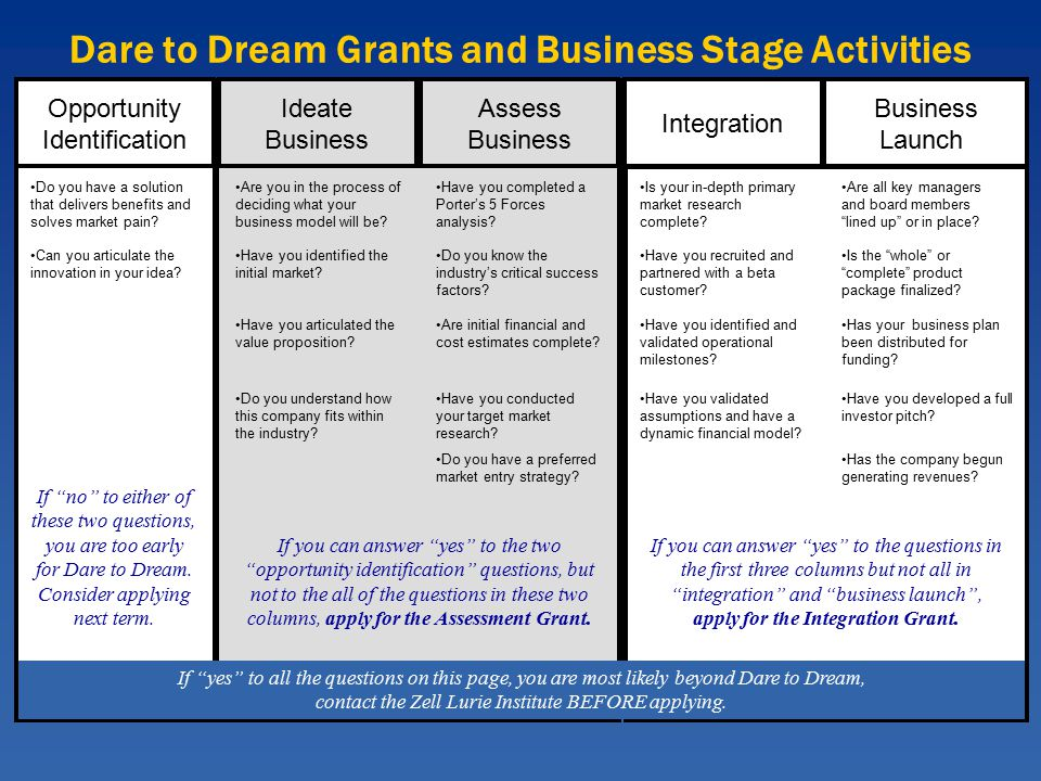 Dare to Dream Grants and Business Stage Activities Ideate Business Assess Business Opportunity Identification Integration Business Launch Can you articulate the innovation in your idea.