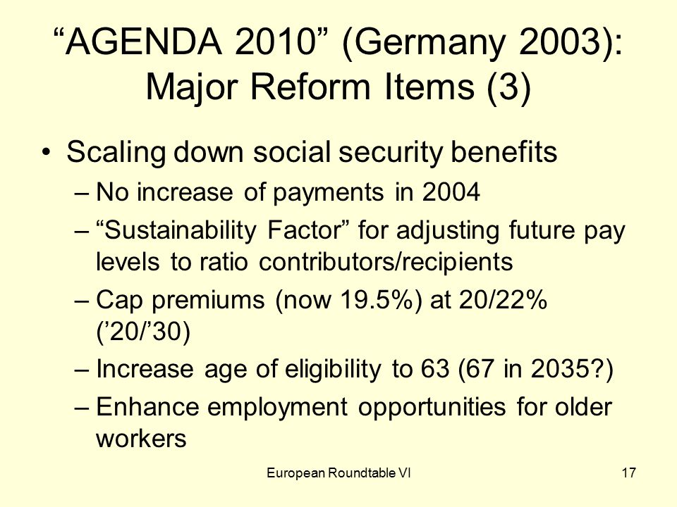 European Roundtable VI17 AGENDA 2010 (Germany 2003): Major Reform Items (3) Scaling down social security benefits –No increase of payments in 2004 – Sustainability Factor for adjusting future pay levels to ratio contributors/recipients –Cap premiums (now 19.5%) at 20/22% ('20/'30) –Increase age of eligibility to 63 (67 in 2035 ) –Enhance employment opportunities for older workers