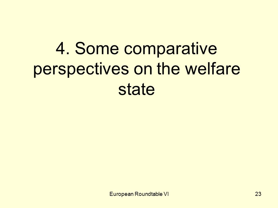 European Roundtable VI23 4. Some comparative perspectives on the welfare state