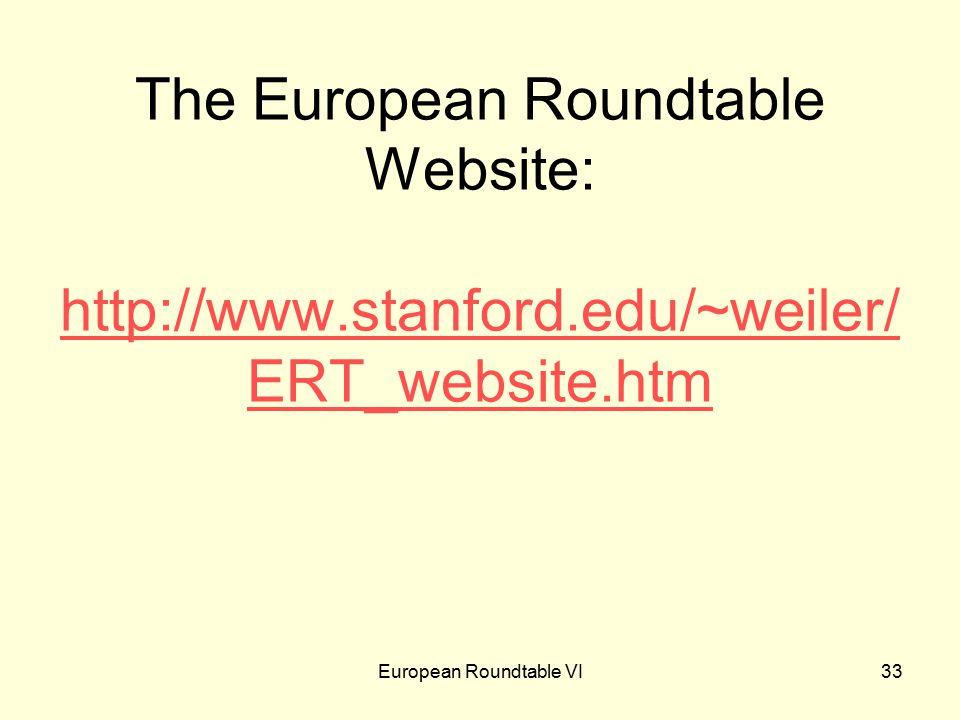 European Roundtable VI33 The European Roundtable Website: http://www.stanford.edu/~weiler/ ERT_website.htm http://www.stanford.edu/~weiler/ ERT_website.htm