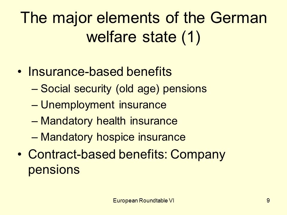 European Roundtable VI30 5. What's so good about the welfare state?