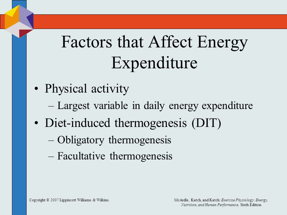 Copyright © 2007 Lippincott Williams & Wilkins.McArdle, Katch, and Katch: Exercise Physiology: Energy, Nutrition, and Human Performance, Sixth Edition Factors that Affect Energy Expenditure Physical activity –Largest variable in daily energy expenditure Diet-induced thermogenesis (DIT) –Obligatory thermogenesis –Facultative thermogenesis
