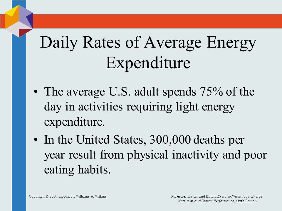 Copyright © 2007 Lippincott Williams & Wilkins.McArdle, Katch, and Katch: Exercise Physiology: Energy, Nutrition, and Human Performance, Sixth Edition Daily Rates of Average Energy Expenditure The average U.S.