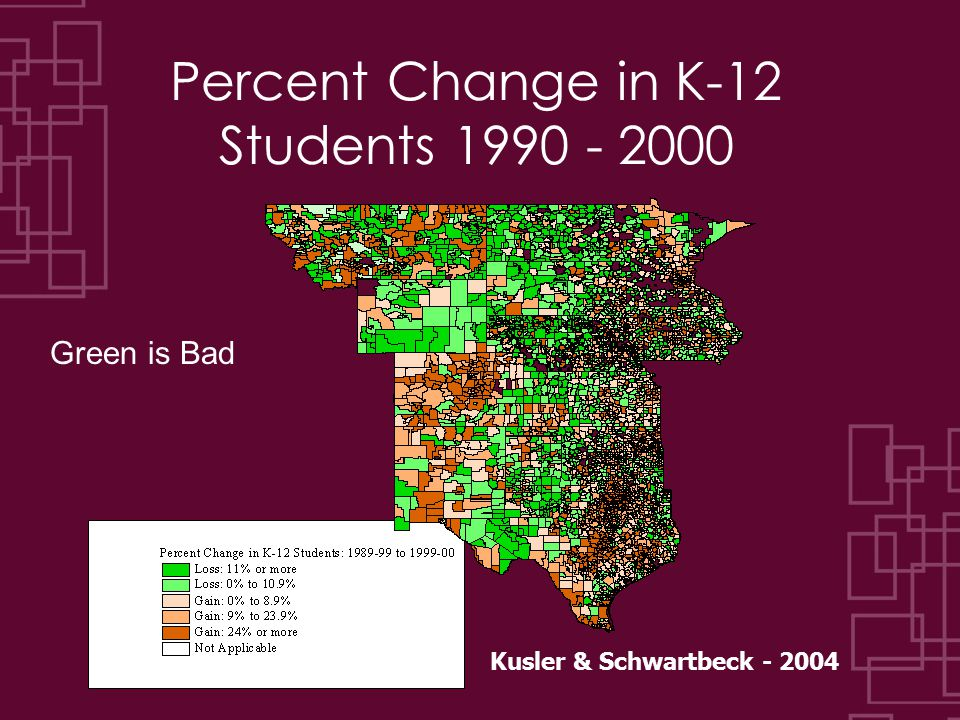 Percent Change in K-12 Students 1990 - 2000 Green is Bad Kusler & Schwartbeck - 2004