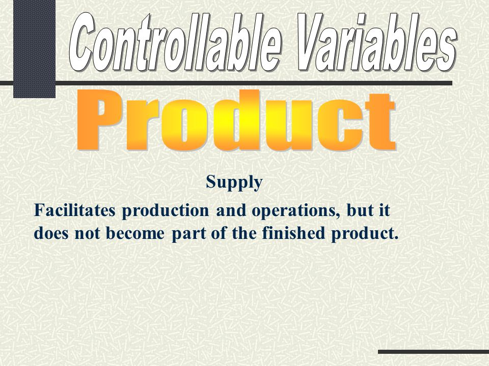 Supply Facilitates production and operations, but it does not become part of the finished product.