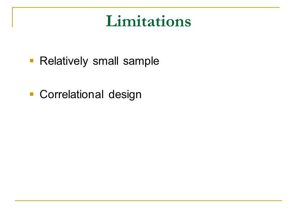 Limitations  Relatively small sample  Correlational design