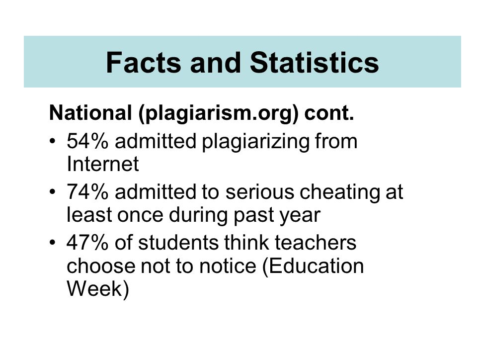 Facts and Statistics National (plagiarism.org) cont.