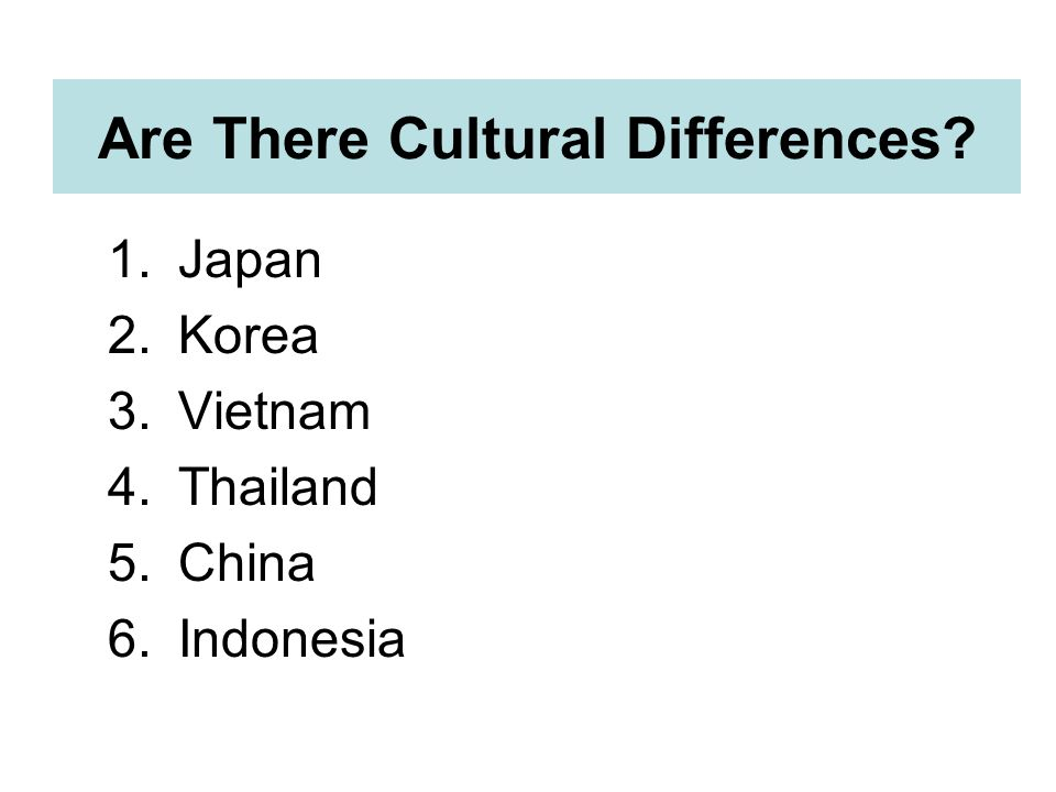 Are There Cultural Differences 1.Japan 2.Korea 3.Vietnam 4.Thailand 5.China 6.Indonesia
