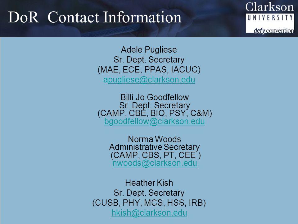 DoR Contact Information Adele Pugliese Sr. Dept.