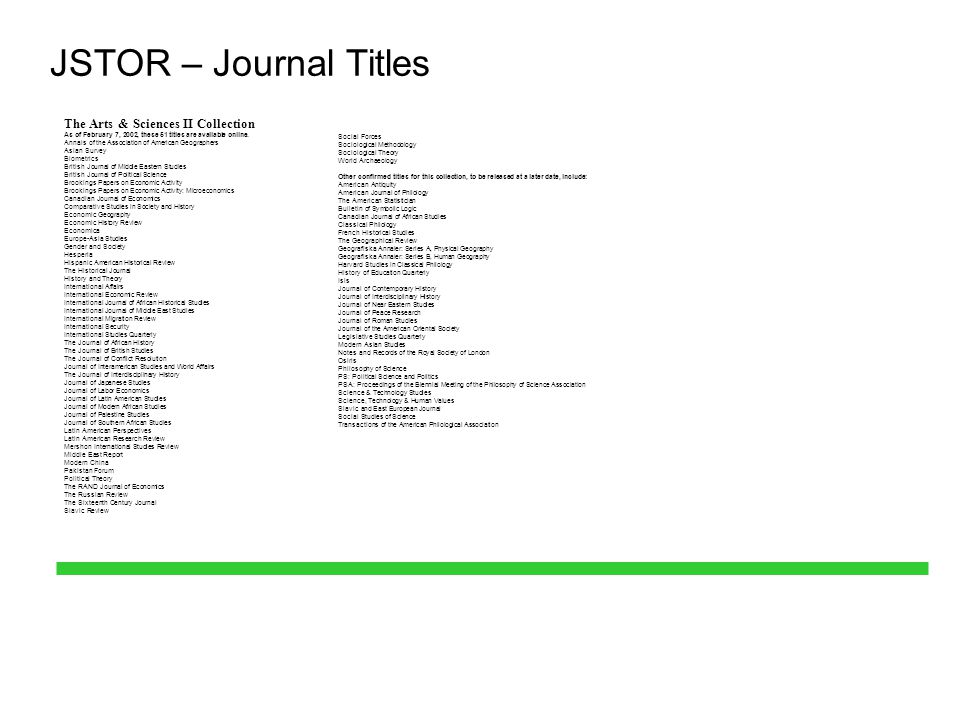 JSTOR – Journal Titles The Arts & Sciences II Collection As of February 7, 2002, these 51 titles are available online. Annals of the Association of Am