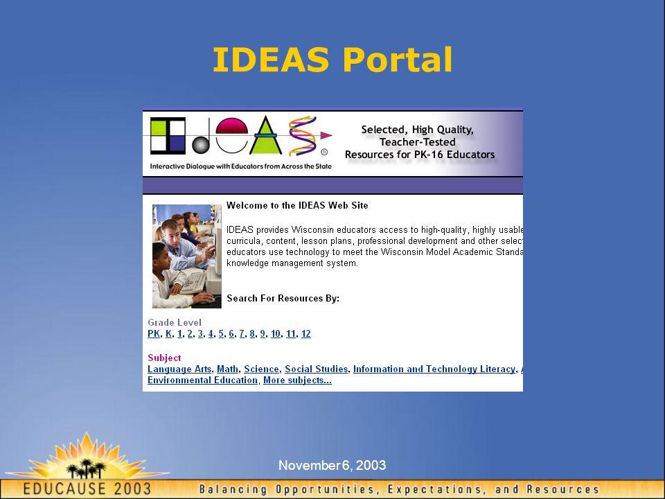 November 6, 2003 IDEAS Portal