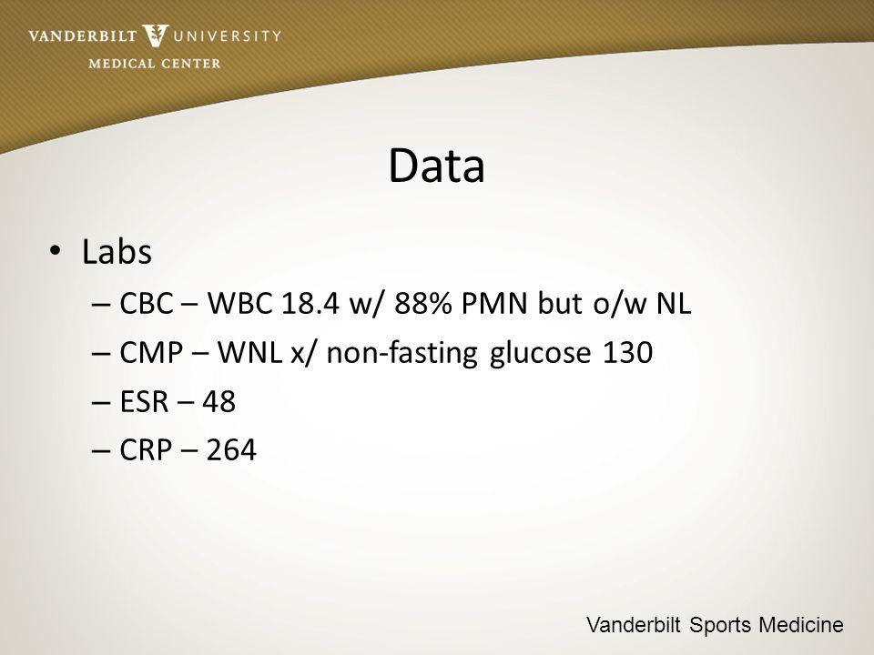 Vanderbilt Sports Medicine Data Labs – CBC – WBC 18.4 w/ 88% PMN but o/w NL – CMP – WNL x/ non-fasting glucose 130 – ESR – 48 – CRP – 264