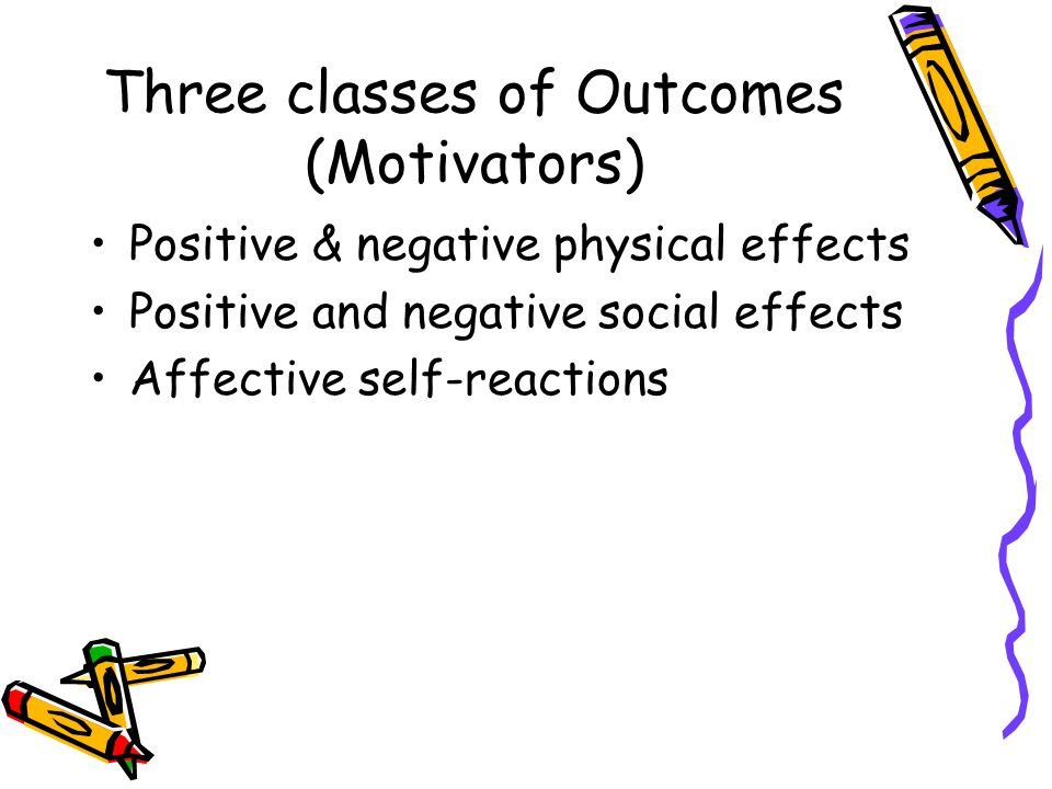 Three classes of Outcomes (Motivators) Positive & negative physical effects Positive and negative social effects Affective self-reactions
