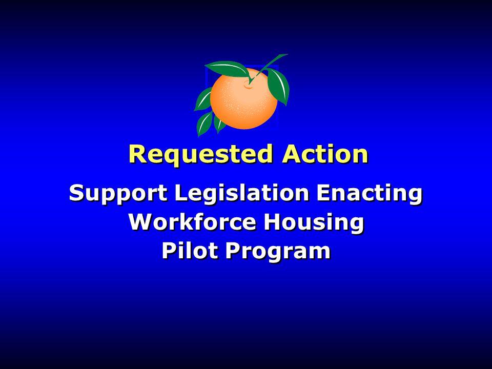 Support Legislation Enacting Workforce Housing Pilot Program Support Legislation Enacting Workforce Housing Pilot Program Requested Action
