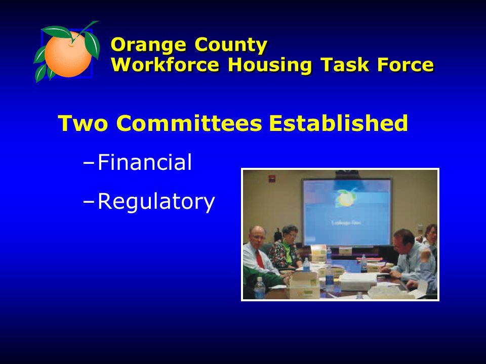 Orange County Workforce Housing Task Force Two Committees Established – –Financial – –Regulatory