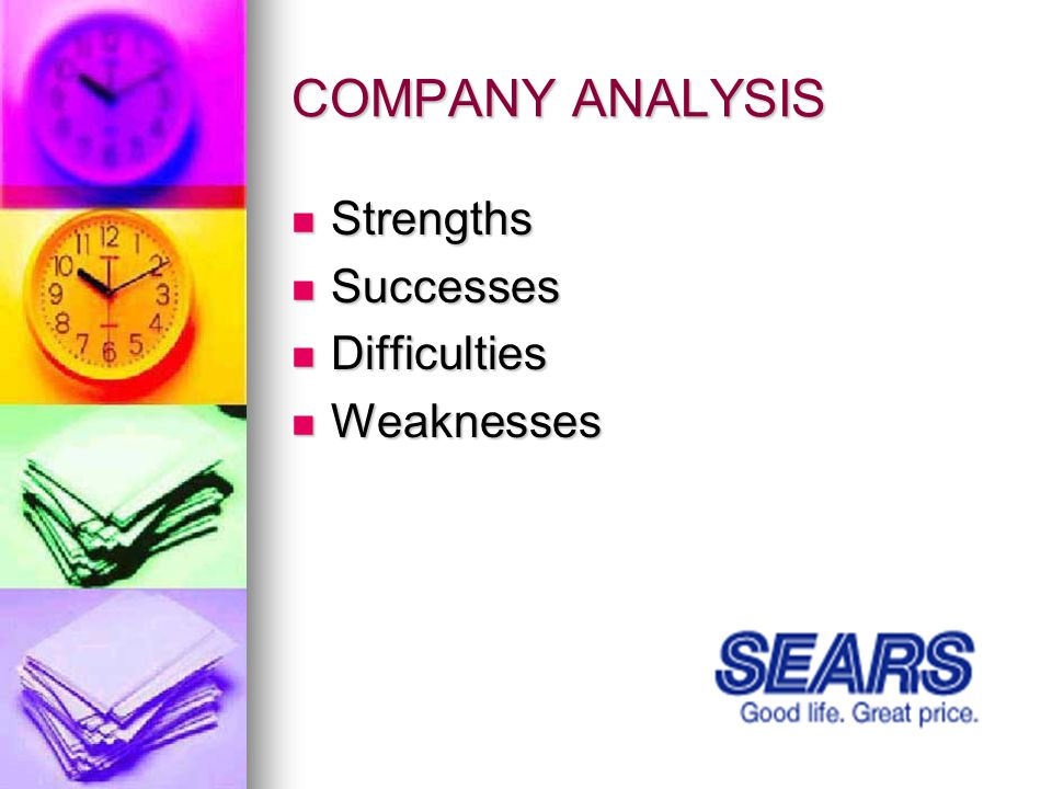 COMPANY ANALYSIS Strengths Strengths Successes Successes Difficulties Difficulties Weaknesses Weaknesses