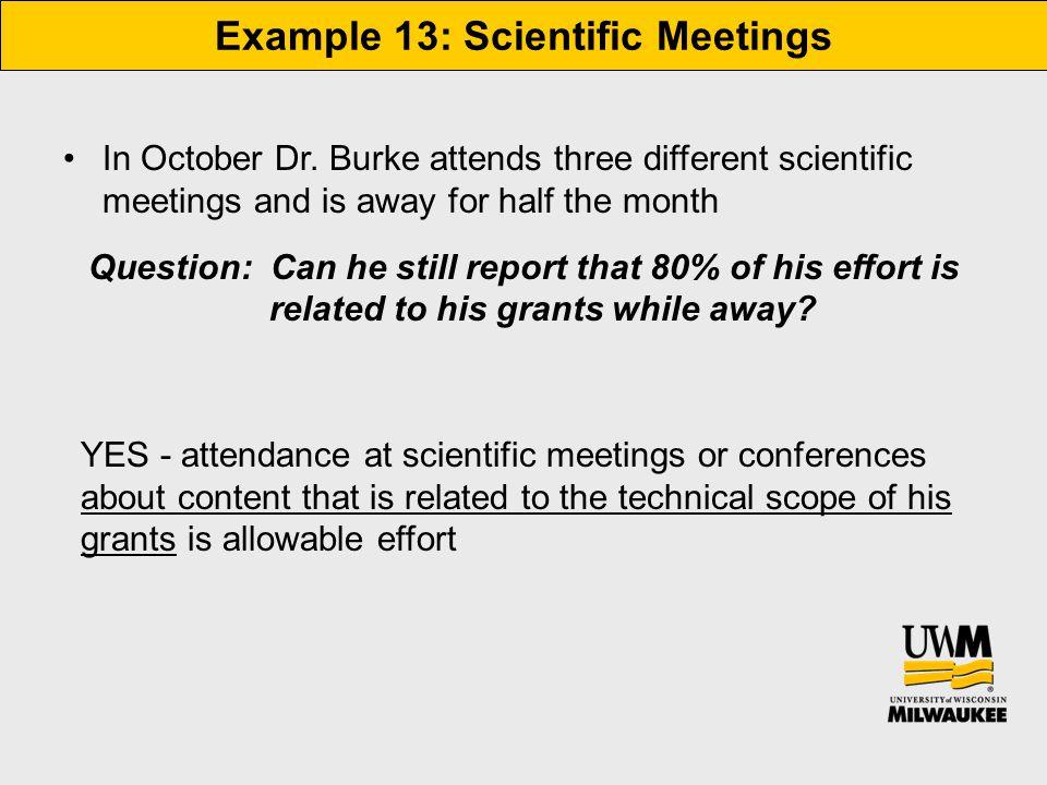 Example 13: Scientific Meetings In October Dr.