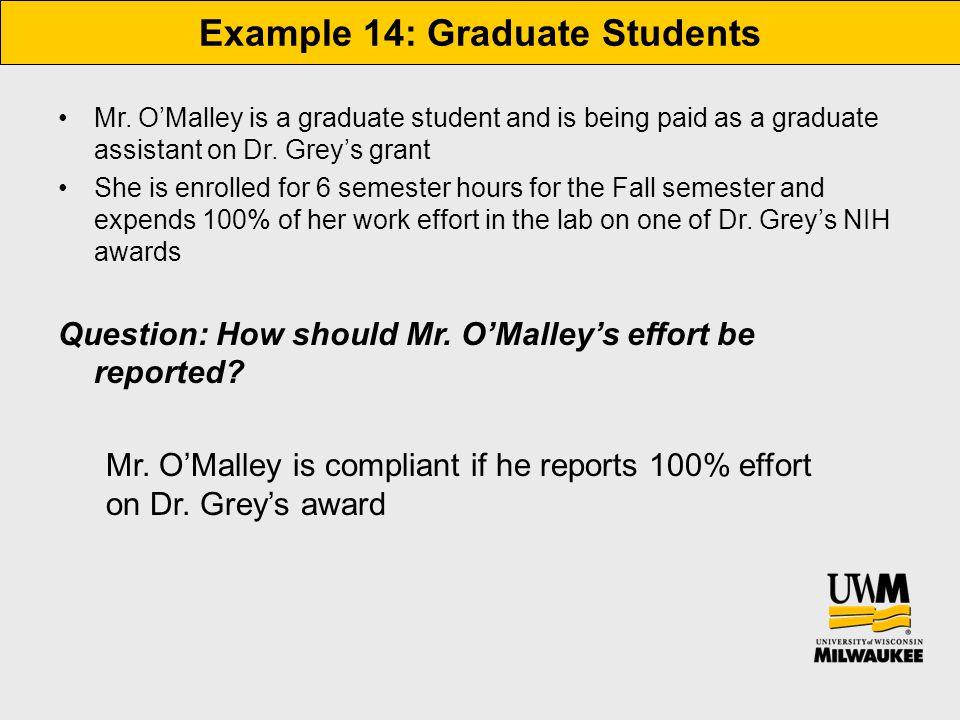 Example 14: Graduate Students Mr.