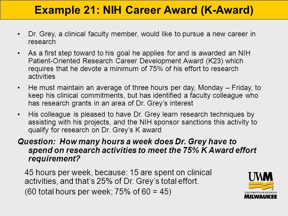 Example 21: NIH Career Award (K-Award) Dr.