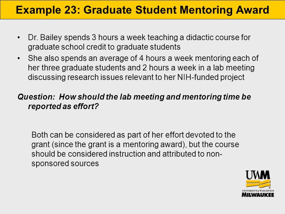 Example 23: Graduate Student Mentoring Award Dr.