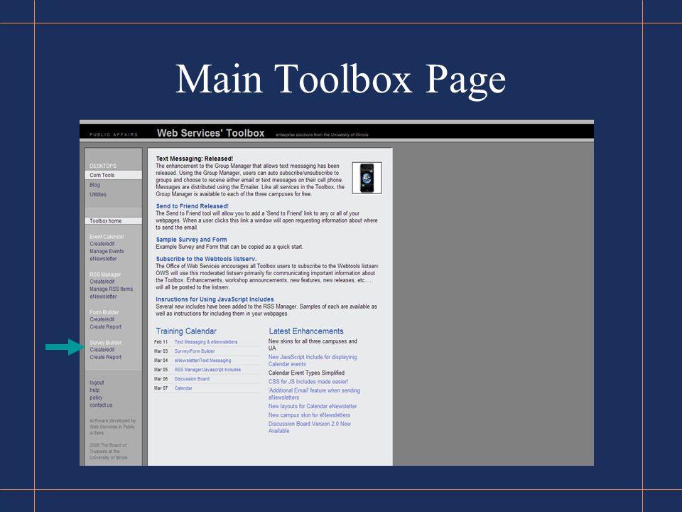 Main Toolbox Page