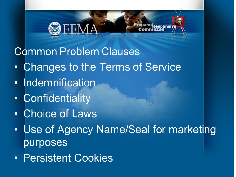 Common Problem Clauses Changes to the Terms of Service Indemnification Confidentiality Choice of Laws Use of Agency Name/Seal for marketing purposes Persistent Cookies