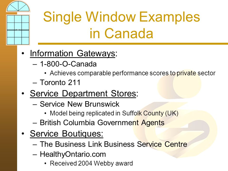 From Single Window to Integrated Service Single windows are services that are GROUPED together; Integrated Service Delivery refers to services that FIT together.