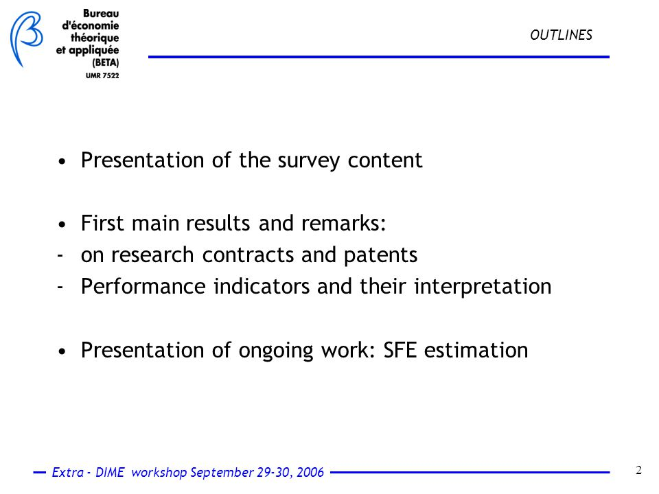 Extra - DIME workshop September 29-30, 2006 13 patent indicators : what about patent claim property regime .