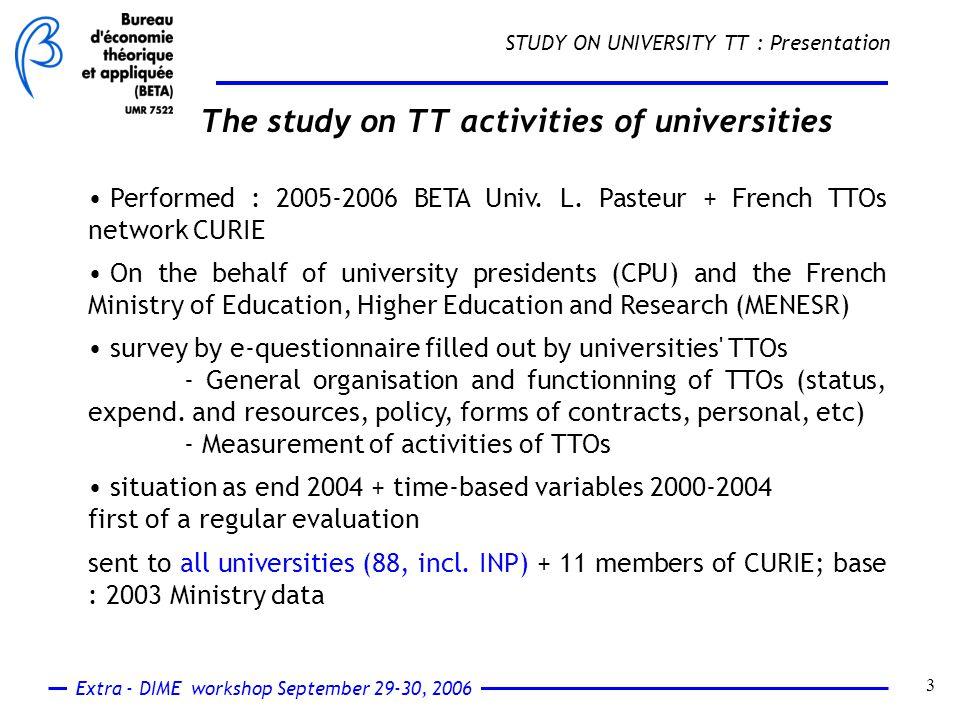 Extra - DIME workshop September 29-30, 2006 4 STUDY ON UNIVERSITY TT : Main results Sample and representativity : 74 answers (66 univ.