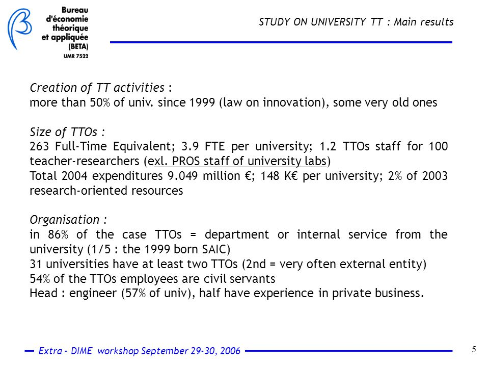 Extra - DIME workshop September 29-30, 2006 6 STUDY ON UNIVERSITY TT : Main results Research contracts and services : 2000-2004 : 766.8 M€ Average per university per year : 2.6 M€ (research contracts = 10 x service contracts) / 73 contracts Results on outputs