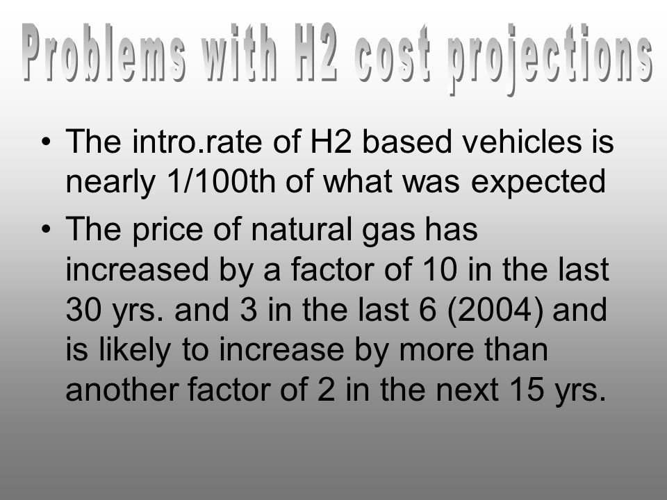 The intro.rate of H2 based vehicles is nearly 1/100th of what was expected The price of natural gas has increased by a factor of 10 in the last 30 yrs.