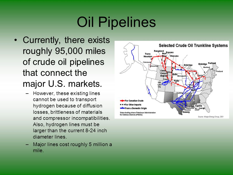 Oil Pipelines Currently, there exists roughly 95,000 miles of crude oil pipelines that connect the major U.S.