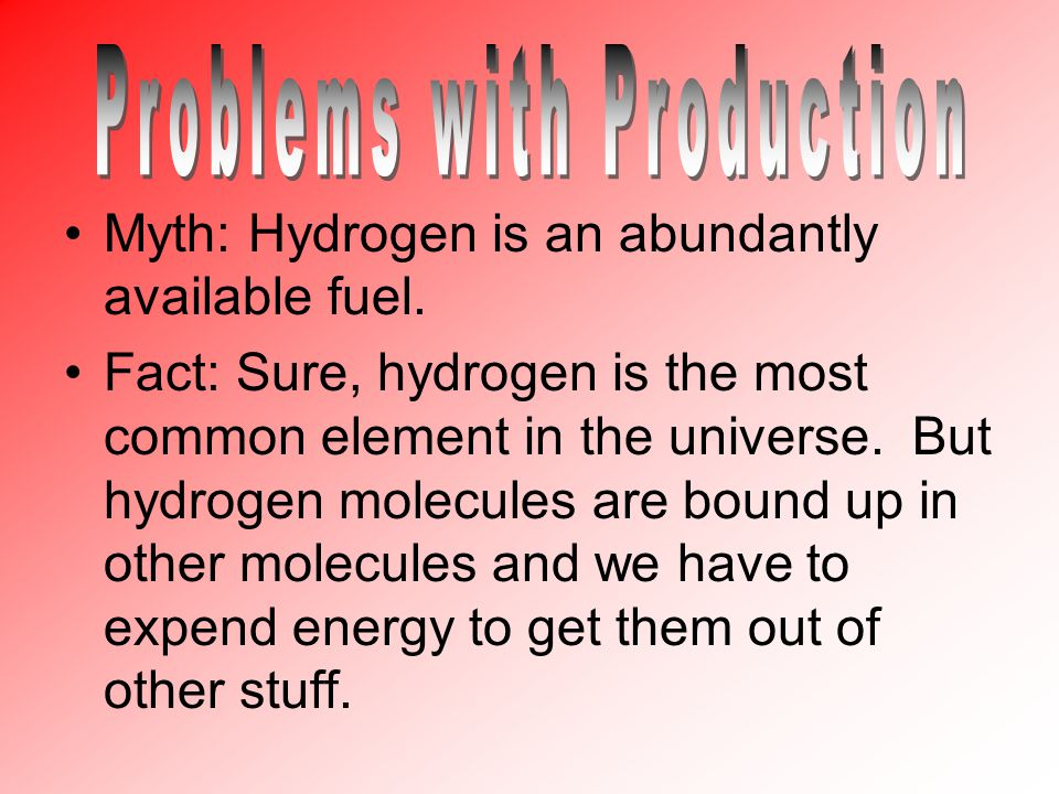 Myth: Hydrogen is an abundantly available fuel.