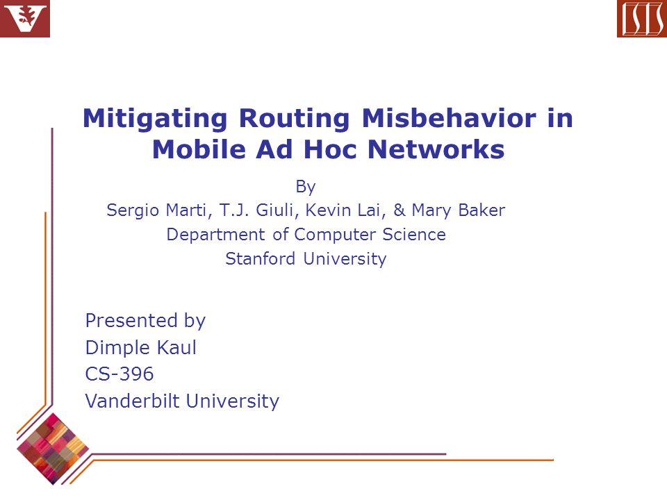 Network Throughput (contd…) Throughput Vs Fraction of Misbehaving nodes 60 sec pause time