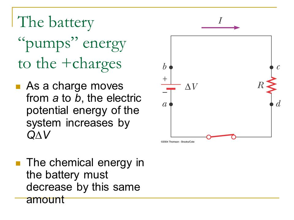 As a charge moves from a to b, the electric potential energy of the system increases by Q  V The chemical energy in the battery must decrease by this same amount The battery pumps energy to the +charges