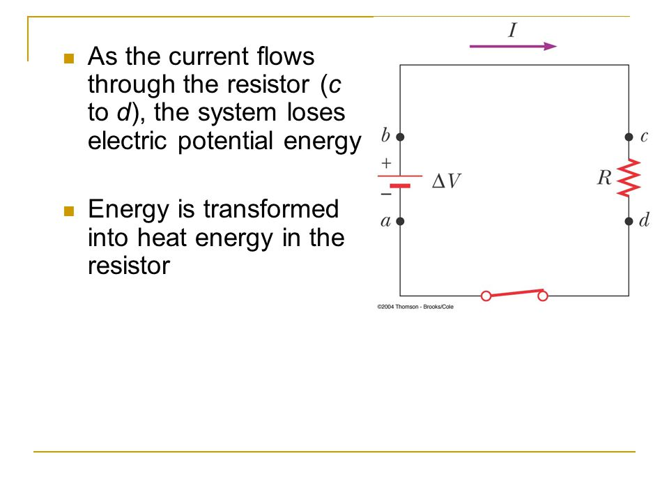 As the current flows through the resistor (c to d), the system loses electric potential energy Energy is transformed into heat energy in the resistor