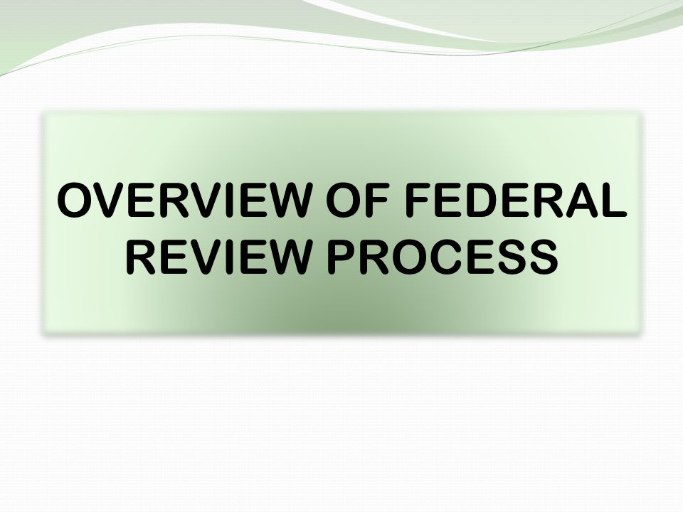 OVERVIEW OF FEDERAL REVIEW PROCESS