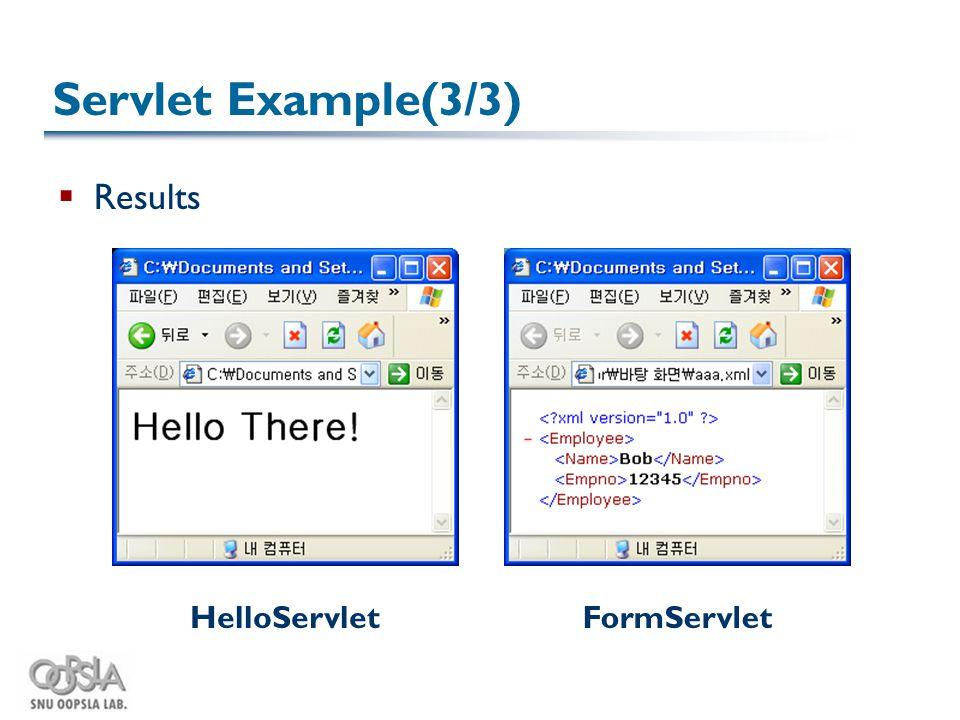 Servlet Example(3/3)  Results HelloServletFormServlet