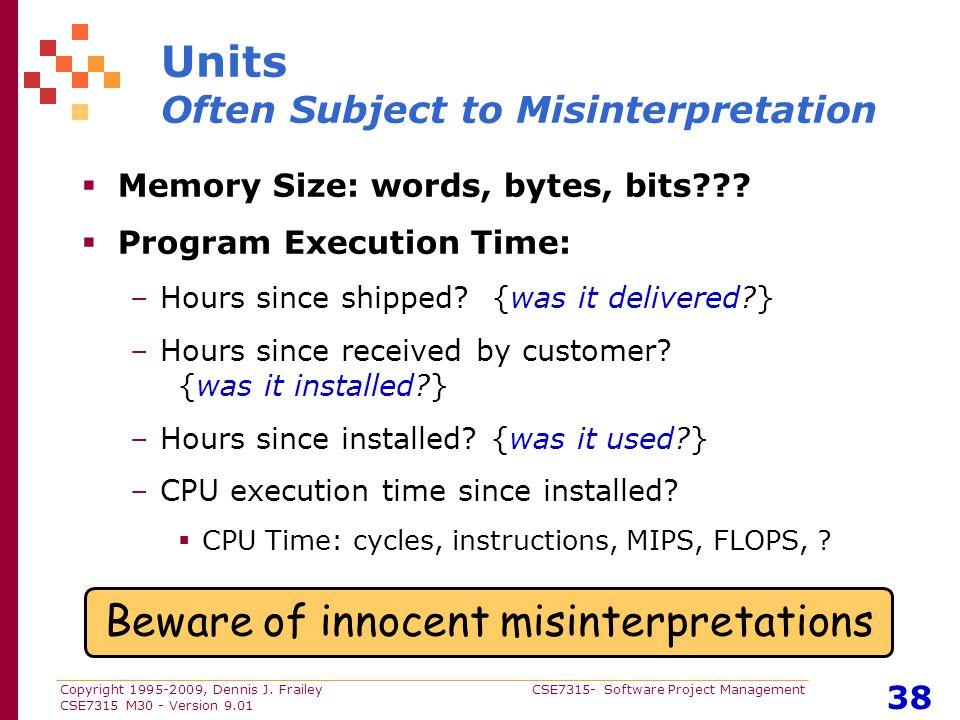 Copyright 1995-2009, Dennis J. Frailey CSE7315- Software Project Management CSE7315 M30 - Version 9.01 38 Units Often Subject to Misinterpretation  M
