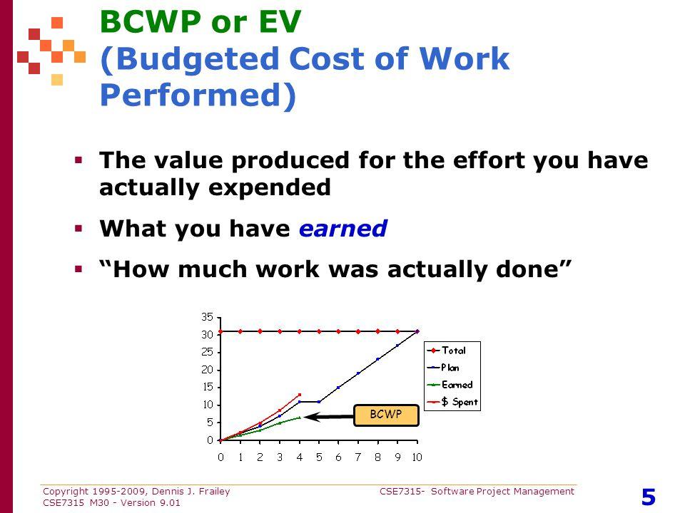 Copyright 1995-2009, Dennis J. Frailey CSE7315- Software Project Management CSE7315 M30 - Version 9.01 5 BCWP or EV (Budgeted Cost of Work Performed)