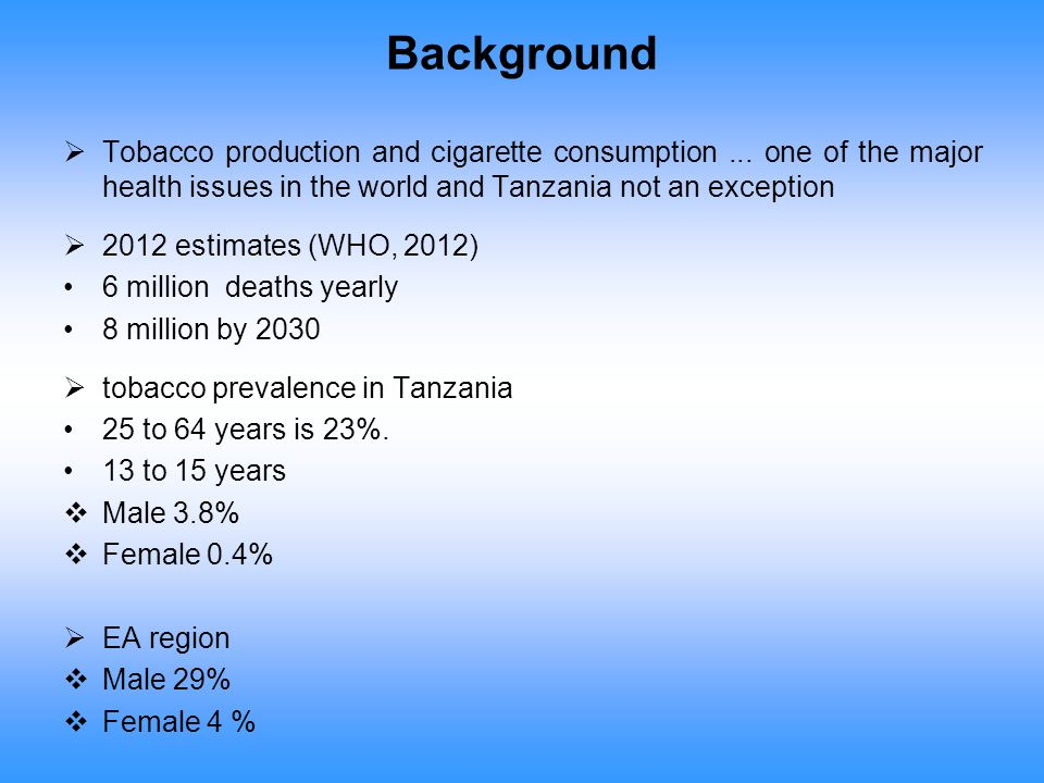 Background  Tobacco production and cigarette consumption... one of the major health issues in the world and Tanzania not an exception  2012 estimate