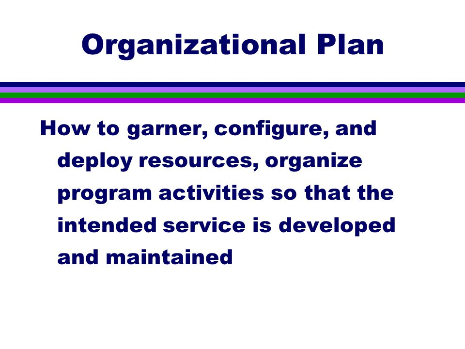 Organizational Plan How to garner, configure, and deploy resources, organize program activities so that the intended service is developed and maintained