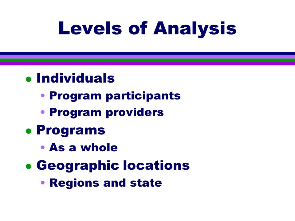 Levels of Analysis l Individuals Program participants Program providers l Programs As a whole l Geographic locations Regions and state