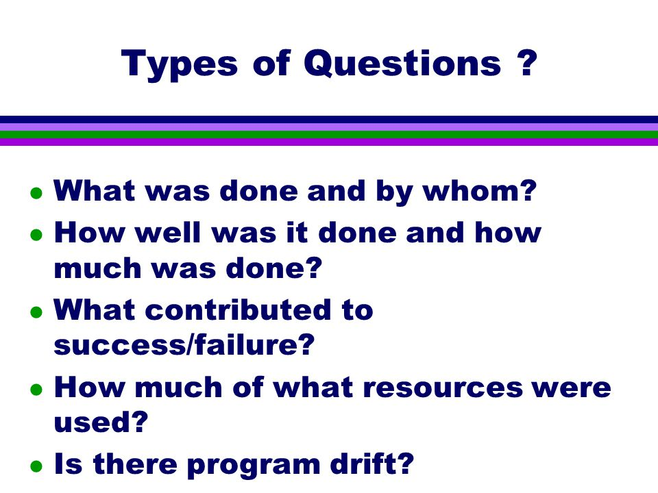 Types of Questions . l What was done and by whom.