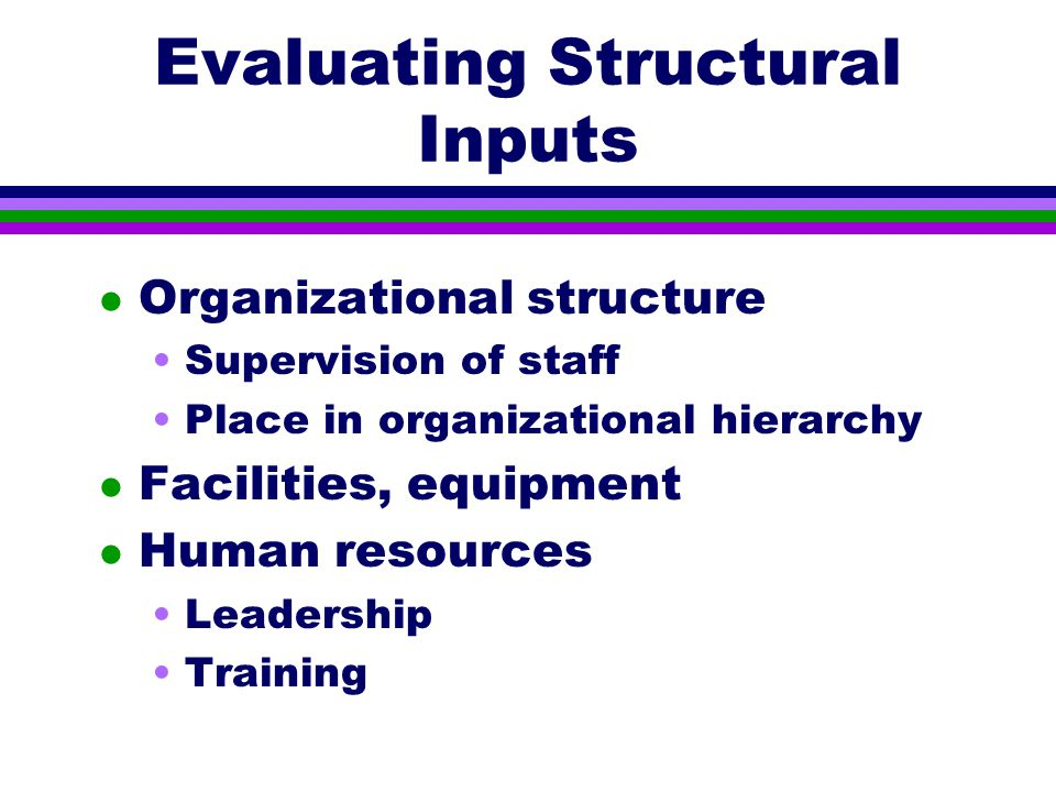 Evaluating Structural Inputs l Organizational structure Supervision of staff Place in organizational hierarchy l Facilities, equipment l Human resources Leadership Training
