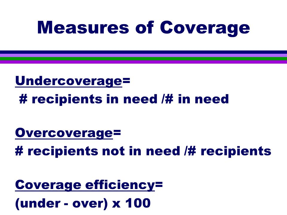 Measures of Coverage Undercoverage= # recipients in need /# in need Overcoverage= # recipients not in need /# recipients Coverage efficiency= (under - over) x 100