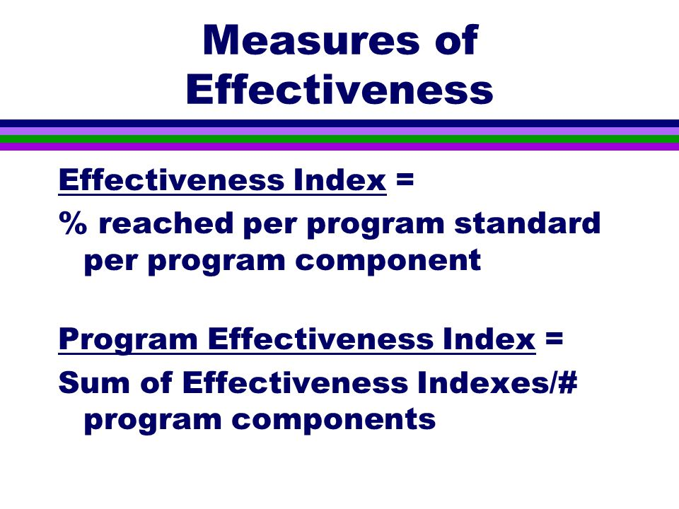 Measures of Effectiveness Effectiveness Index = % reached per program standard per program component Program Effectiveness Index = Sum of Effectiveness Indexes/# program components