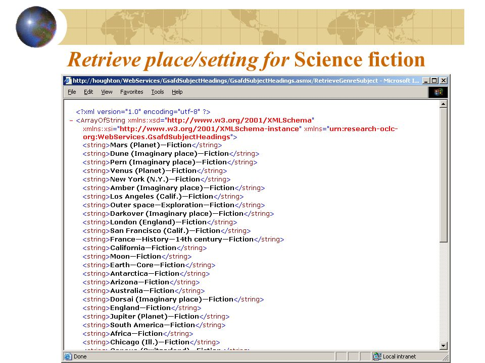 Retrieve place/setting for Science fiction