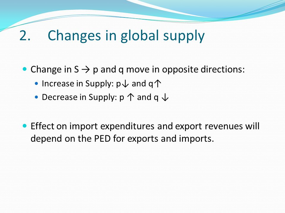 2.Changes in global supply Change in S → p and q move in opposite directions: Increase in Supply: p↓ and q↑ Decrease in Supply: p ↑ and q ↓ Effect on import expenditures and export revenues will depend on the PED for exports and imports.